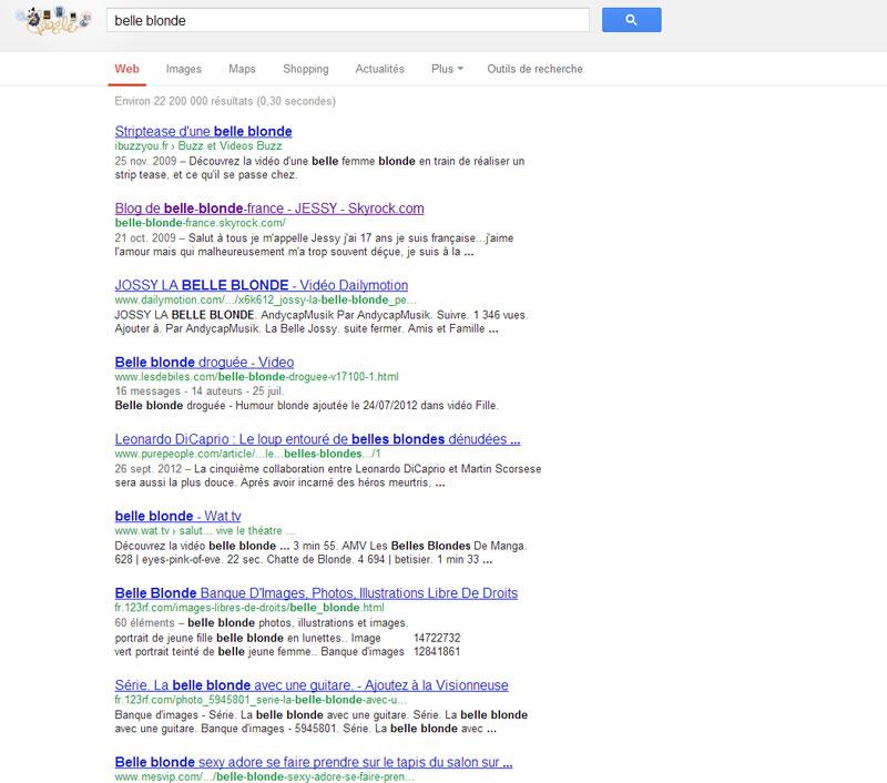 """Requête """"belle blonde"""" sur Google"""